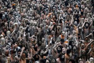 20 Photos: Naga Sadhus, or Hindu naked holy men, in procession after bathing at Sangam