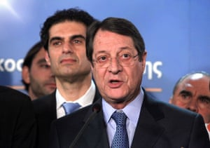 Greek Cypriot presidential candidate Nicos Anastasiades addresses the crowd and media in Nicosia, Cyprus, 17 February 2013.