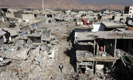 Buildings destroyed by Syrian air force airstrikes in the Duma neighbourhood of Damascus. The photograph was taken in January 2013.