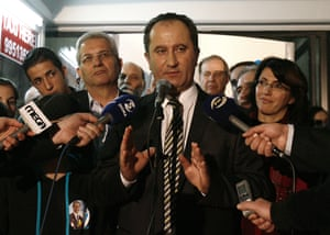 Left-wing presidential candidate Stavros Malas speaks to the media during a Presidential election address in Nicosia, Cyprus, Sunday, Feb. 17, 2013, as final results Sunday night showed Anastasiades winning 45.46 percent of the vote.