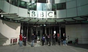 BBC strikers outside New Broadcasting House