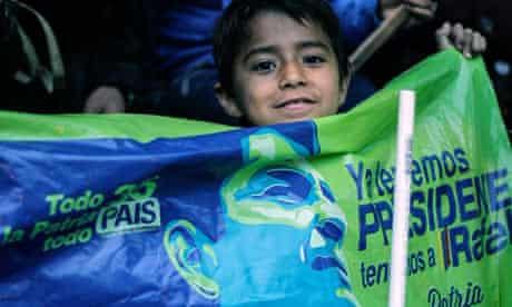 A child celebrates Rafael Correa's election victory