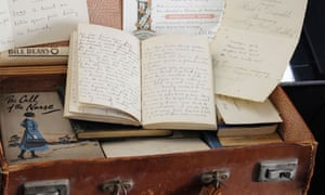 A battered suitcase filled with memorabilia from the first world war