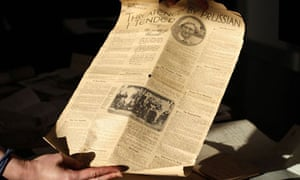 A newspaper cutting found in a battered suitcase filled with memorabilia from the first world war