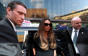 British TV presenter and socialite Tamara Ecclestone arrives at Southwark Crown Court for the trial of Derek Rose and Jakir Uddin  who are accused of blackmailing her.