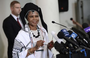 Respected businesswoman and anti-apartheid activist Mamphela Ramphele delivers a speech in Johannesburg to launch a political party platform to challenge the ruling African National Congress (ANC). The party will contest the 2014 national elections.
