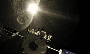 A spacecraft orbiting an asteroid.