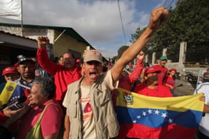 Welcome back El Comadante! Supporters of Venezuela's President Hugo Chavez celebrate his return outside the military hospital in Caracas, Venezuela. Chavez returned to Venezuela early Monday after more than two months of medical treatment in Cuba following cancer surgery.