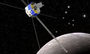 An artist's impression of the spacecraft Bepicolombo in orbit around Mercury.