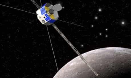 An artist's impression of the spacecraft Bepicolombo in orbit around Mercury.