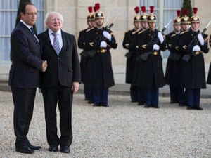 French President Francois Hollande (L) greets Irish President Michael Higgins (R) as he arrives for a meeting at the Elysee Palace in Paris, France, Photograph: Ian Langsdon/EPA