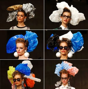 Which one would suit you? A combo picture shows head shots of models presenting creations made of carrier bags by Scottish designer Louise during the London Fashion Week Fall/Winter 2013 at Topshop Show Space, in London. Photograph: Kerim Okten/EPA