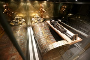 And some of the exhibits, a mummie and a sarcophagus are seen in the cellars of Highclere Castle.