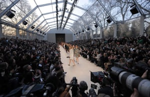 Models present creations by Burberry Prorsum during the London Fashion Week in London. Photograph: Ben Stansall/AFP/Getty Images