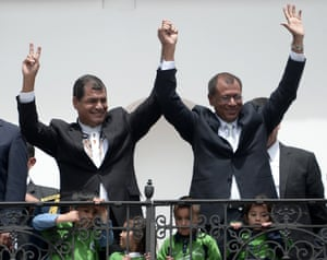 Ecuadorean President Rafael Correa (L) and Vice-President elect Jorge Glass, celebrate their victory on Sunday's general election, at Carondelet presidential palace in Quito.