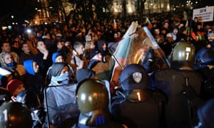 Bulgarian riot police and protesters clash during a rally in front of the Bulgarian Parliament in Sofia. Tens of thousands of Bulgarians gathered in the country's capital to protest against the government's overall policy and high utility bills.