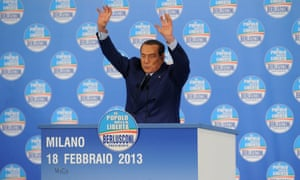 Former Italian Prime Minister Silvio Berlusconi delivers his speech during a political rally in Milan, as he enters the last week of campaigning for his party Popolo della Liberta.