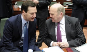 UK chancellor George Osborne and Irish finance minister Michael Noonan in Brussels last week. Photograph: AFP/Getty Images/John Thys