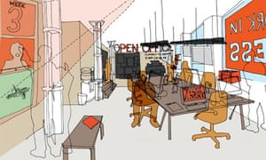 sketch of the open office