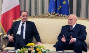 French president Francois Hollande and Greece's President Karolos Papoulias during their meeting at Presidential Palace in Athens. Photograph: Getty Images