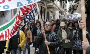 Greek journalists march in central Athens during their 24-hour strike. Photograph: AFP/Getty Images/Louisa Gouliamaki