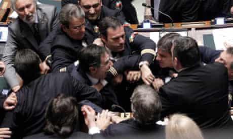 Brawl at Italian parliament 26/10/11