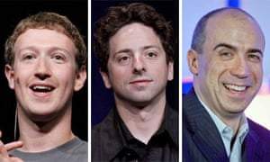Mark Zuckerberg, Sergey Brin and Yuri Milner.