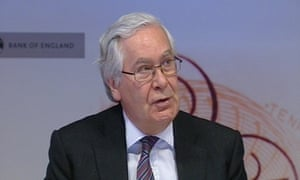 """Videograb image taken from pooled Bloomberg TV footage of Bank of England governor Sir Mervyn King who insisted a """"recovery is in sight"""" but warned the path ahead for the UK economy will not be smooth."""