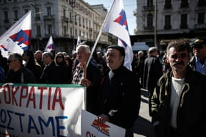 Member of a Greek Communist trade union gather in Omonia square in the center of Athens on February 20, 2013 during a demonstration against austerity measures.