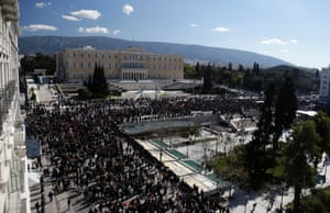 Members of pro-communist union PAME gather outside Greece's parliament during a protest.