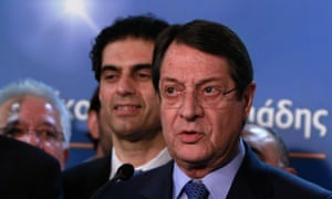 Right-wing opposition leader and presidential candidate Nicos Anastasiades  speaks to the media during a press conference at his campaign in capital Nicosia, Cyprus, Sunday, Feb. 17, 2013.