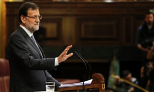 Spain's Prime Minister Mariano Rajoy gives a speech during the state of the nation debate on February 20, 2013 at the Parliament in Madrid.