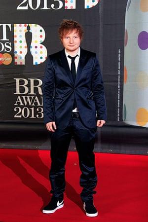 Brits 2013 red carpet: Ed Sheeran