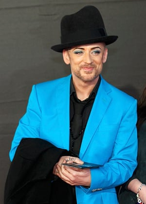 Brits 2013 red carpet: Singer Boy George arrives for the BRIT Awards at the O2 Arena in London