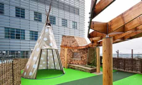 The rooftop terrace features a tepee and shingle-clad tree house
