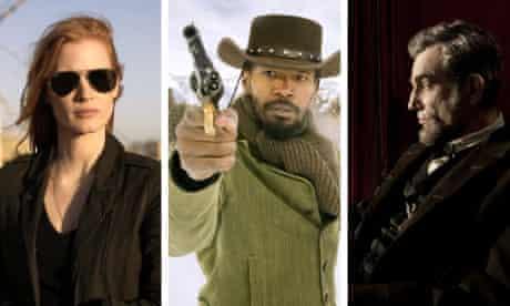 Jessica Chastain in Zero Dark Thirty; Jamie Foxx in Django Unchained; Daniel Day-Lewis in Spielberg.