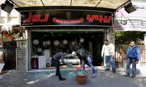 Clean up after Damascus car bomb explosion Syria