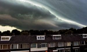 Storm clouds gather over Alkmaar in the Netherlands.
