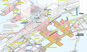 A map shows the interconnecting levels of the Shun Tak Centre and Sheung Wan – a hub that connects trains, ferries, helicopters, buses and taxis, alongside a neighbourhood of dried seafood shops