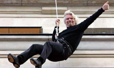 Richard Branson abseilling
