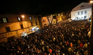 Five-Star Movement leader and comedian Beppe Grillo speaks during a rally in Viterbo, north of Rome, February 21, 2013.
