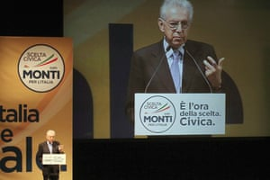 Italy's outgoing premier Mario Monti gestures as he gives his speech during his closing political rally in Florence, Italy, Friday, Feb. 22, 2013.