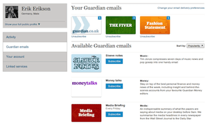 The new Guardian profile page email subscriptions page