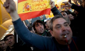 Protestors at Barajas Airport in Madrid. Photograph: Getty Images/Pablo Blazquez Dominguez