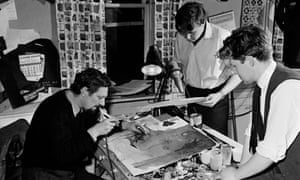 Bob Godfrey, left, at work with Keith Learner, centre, and Trevor Bond in the mid-1950s