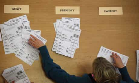 Ballot papersa are counted in the Humberside police and crime commissioner election