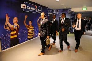 Capital One Final: Bradford City players wearing headphones