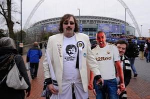 Capital One Final: Swansea City fan dressed as Robbie James