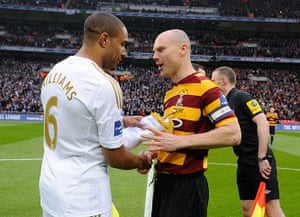 capital one final 2: Captains Ashley Williams and Gary Jones greet one another ahead of kick-off