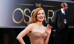 Jessica Chastain arrives at the Oscars 2013